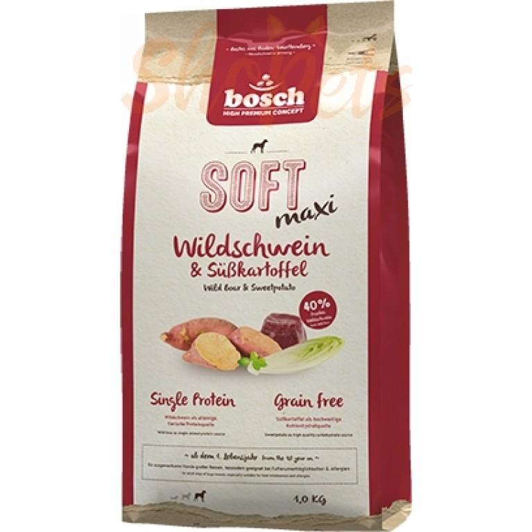 Корм полувлажный с кабаном и бататом для взрослых собак крупных пород (свыше 25 кг) Bosch Soft Maxi 1 кг
