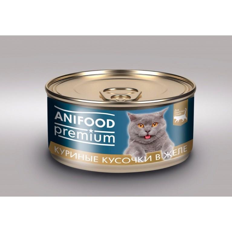 """Корм консервированный для кошек """"ANIFOOD premium"""", ломтики в желе с курицей, 100 г"""