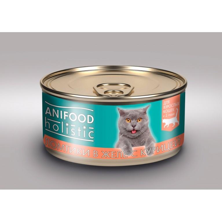 """Корм консервированный для кошек """"ANIFOOD holistic"""", ломтики в желе с курицей, 100 г"""
