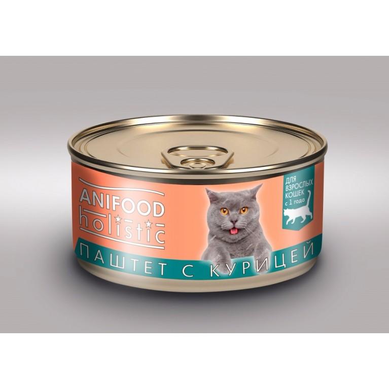 """Корм консервированный для кошек """"ANIFOOD holistic"""", паштет с курицей, 100 г"""