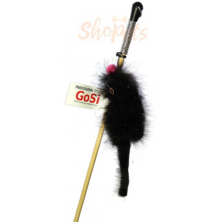 """Махалка """"Мышка на веревке"""" GoSi без упаковки (мышка из натуральной норки)"""