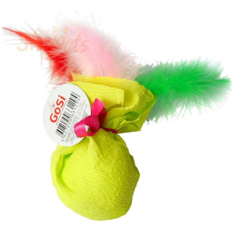 """Игрушка """"Шуршаший шар с перьями"""" GoSi звенящий с кошачей мятой"""