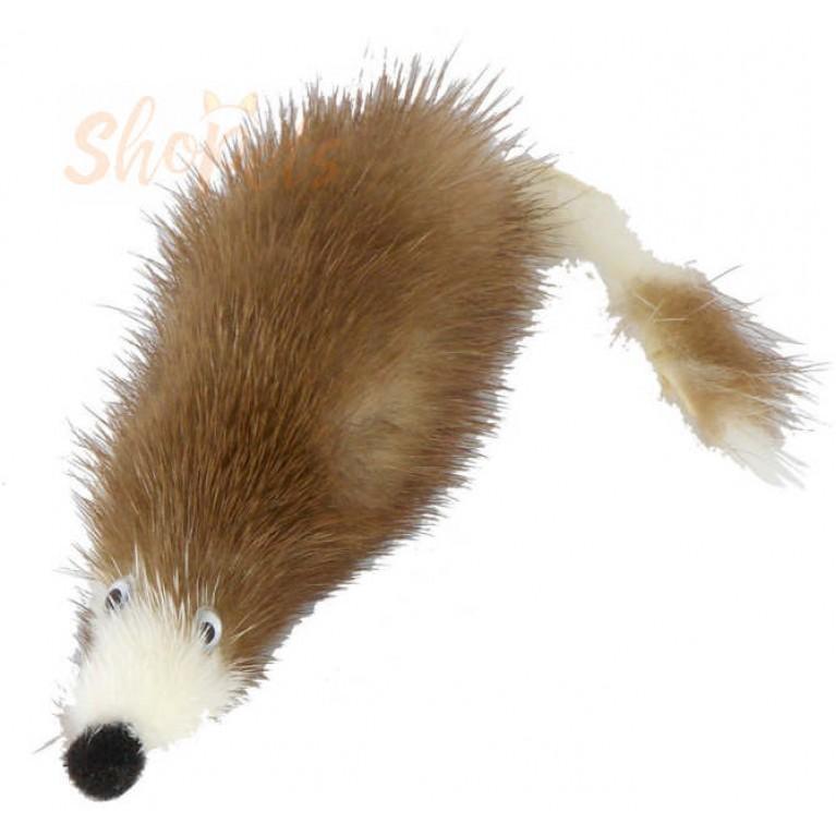 """Игрушка """"Мышь норка M"""" GoSi на картоне с еврослотом (мышь из натуральной норки 5 см)"""