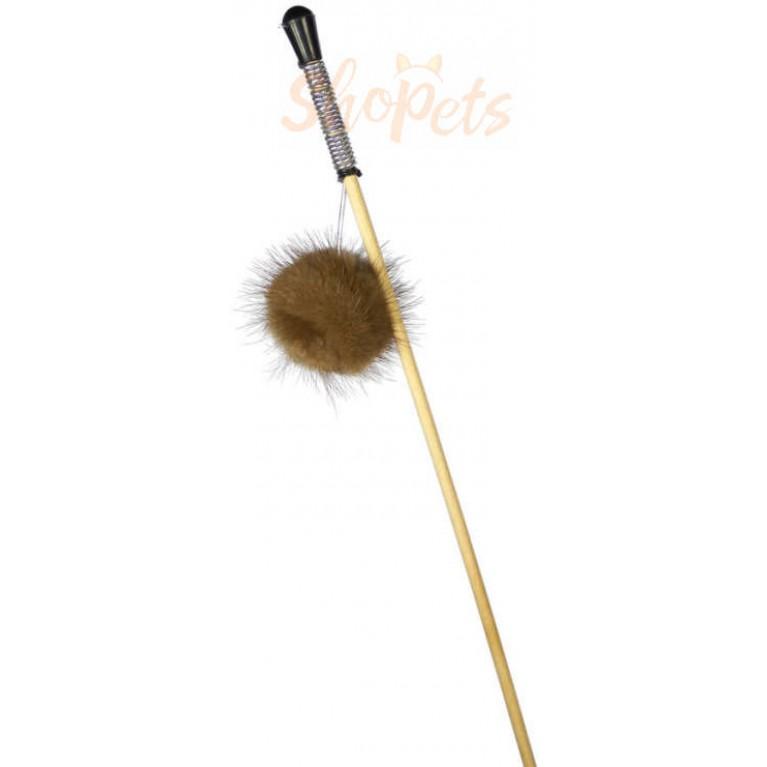 """Махалка """"Пушистик на веревке"""" GoSi без упаковки (шар звенящий из натуральной норки)"""