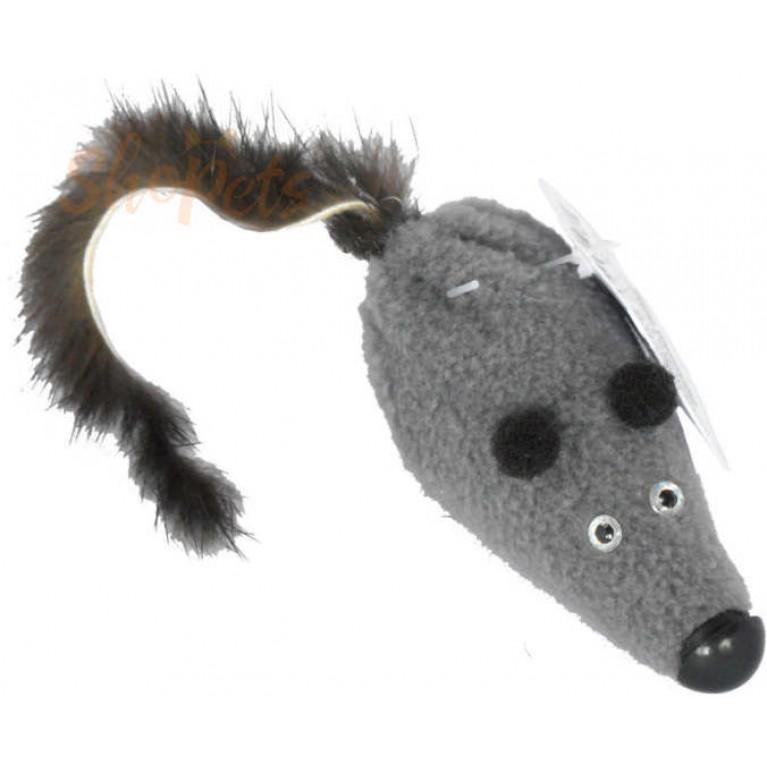"""Игрушка """"Мышь M с норковым хвостом"""" 6 см GoSi без упаковки (хвост из натуральной норки)"""