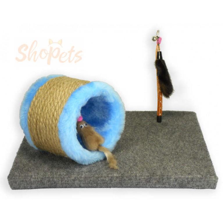 Игровой комплекс для кошек труба-когтеточка с мышкой из натуральной норки и норковый хвостик на пружинке Ninja Cat