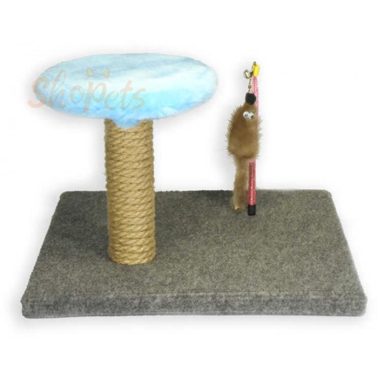Игровой комплекс для кошек cтолбик-когтеточка с площадкой и мышка из натуральной норки на пружине Ninja Cat