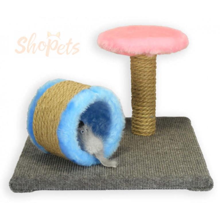 Игровой комплекс для кошек ОПТИМУМ труба-когтеточка с мышкой из натуральной норки и столбик-когтеточка с площадкой Ninja Cat