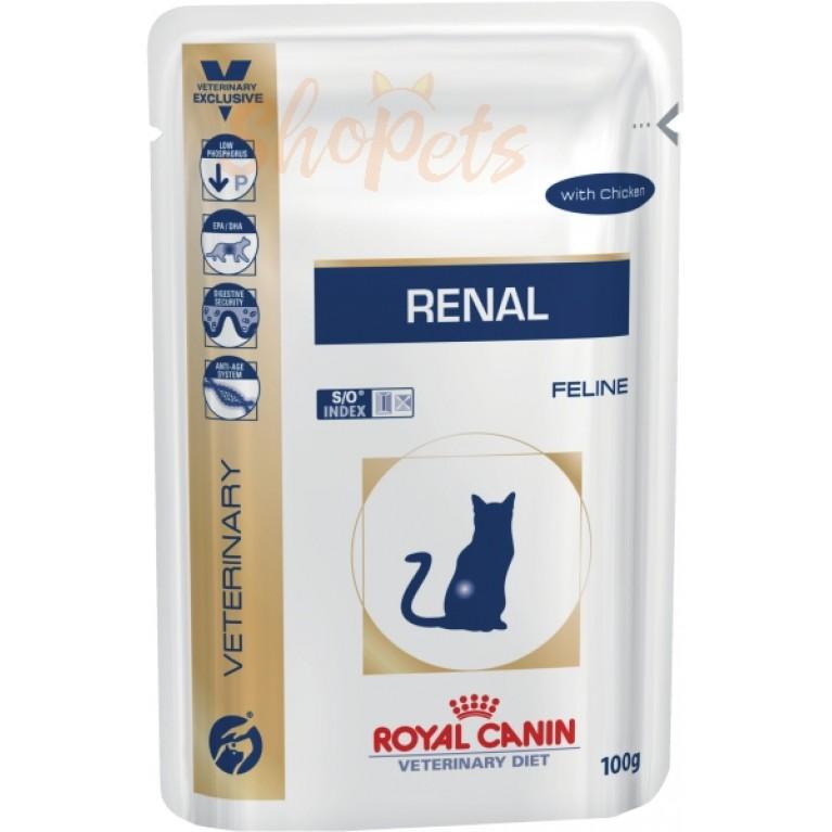 Диетический корм для взрослых кошек Royal Canin RENAL с курицей 85 г